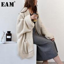 [EAM]-cárdigan de punto con cuello en V y manga larga para mujer, suéter holgado, talla grande, albaricoque, moda, otoño, invierno, 2021, 1Y152