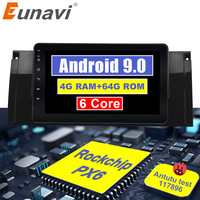 Eunavi Android 9.0 4G Car DVD PLAYER For BMW X5 E53 E39 GPS stereo audio navigation multimedia screen head unit PX6 with HDMI