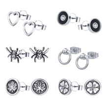 Zombie 2 Pcs Stainless Steel Stud Anting-Anting Punk Gaya Anting-Anting Hati untuk Pria Hip Hop Stud Anting-Anting Spider Biker Perhiasan(China)