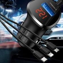 טוטו רכב מטען 3 ב 1 טלפון טעינת כבל USB עבור ברקים מיקרו USB + סוג C 5V 3.4A USB מטען לרכב עבור iPhone Xiaomi Huawei