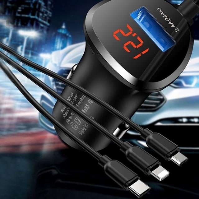 Cargador de coche TOTU 3 en 1, Cable de carga de teléfono, USB para Lightning Micro USB + tipo C 5V 3.4A, cargador de coche USB para iPhone, Xiaomi, Huawei