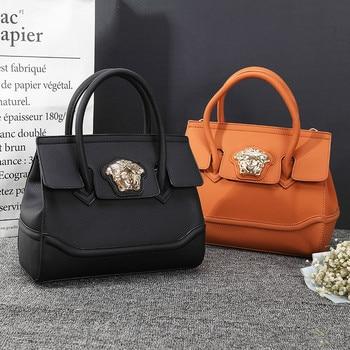2020 New Luxury Metal Botton Lock Decoration Large Capacity Lady Tote High Quality PU Leather Doctor Bag Handbag