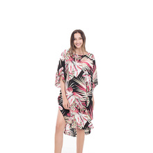 Women's Swimsuit Pareo Tunic Beach Swim Suits Swimwear Cape For Cover Up Clothes Digital Print Long Sleeve Dress Women Polyester