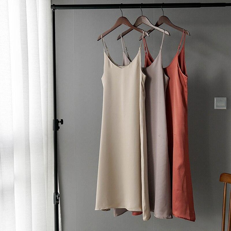 2019 women summer satin dress luxury shiny sundress vintage imitation silk dress korean fashion