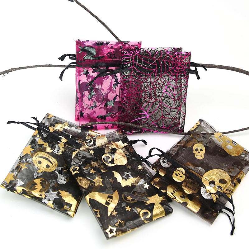 9 * 12cm Creative Halloween Gift Bag Spider Pumpkin Ghost Bat Bronze Drawstring Gauze Bag 50pcs