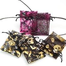 9 * 12cm Creative Halloween Gift Bag Spider Pumpkin Ghost Bat Bronze Drawstring Gauze 50pcs