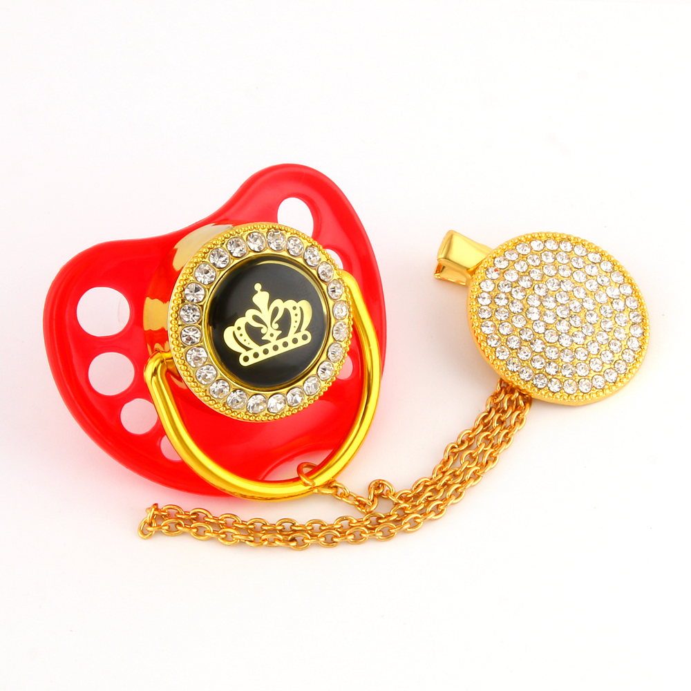 Red Crown Newborn Baby Pacifier With Chain Clip Silicone Nipple Infants Soother Baby Gums Pacifier