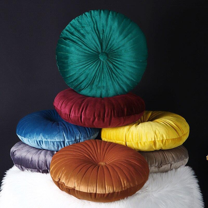 Бархатная круглая подушка на сиденье с тыквой, подушка на спинку талии, диванная подушка на подголовник, подушка на колесо с сердечником, ук...