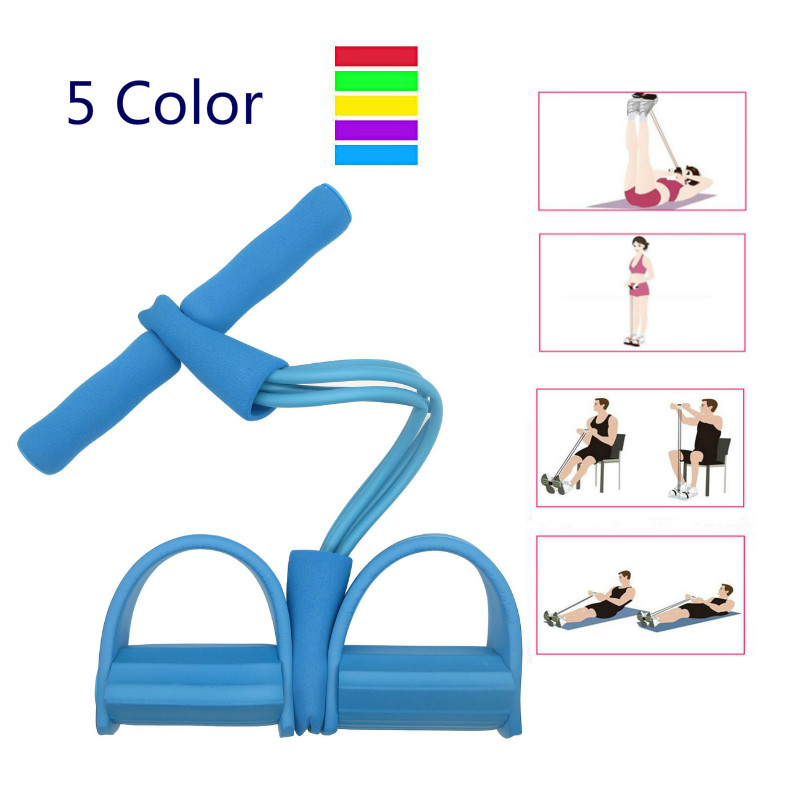 Sit-up Exercise Pull Rope 4-Tube Multifunction Fitness Slimming Resistance Bands Yoga Sports Foot Abdomen Trainer Equipment