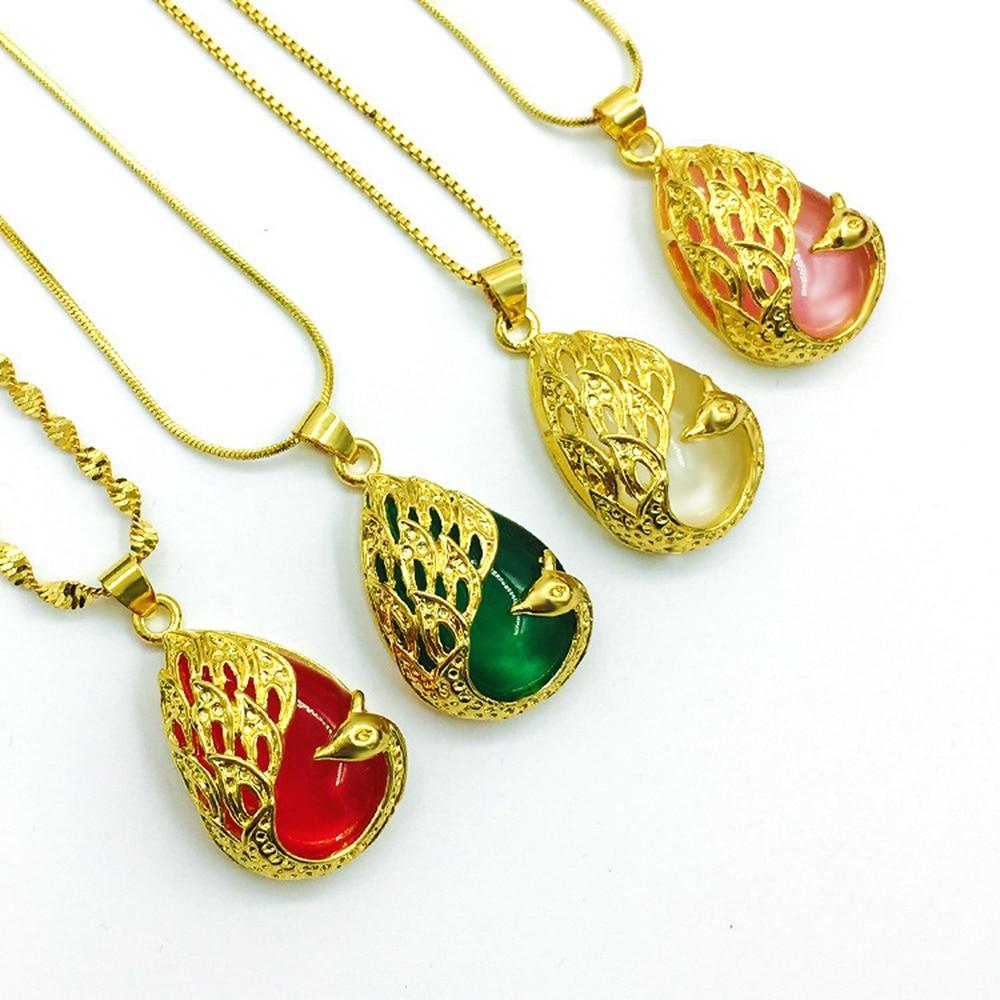 Womens Beautiful Peacock Pendant Choker Yellow Gold Filled Fashion Wedding Lady Pendant Necklace Jewelry
