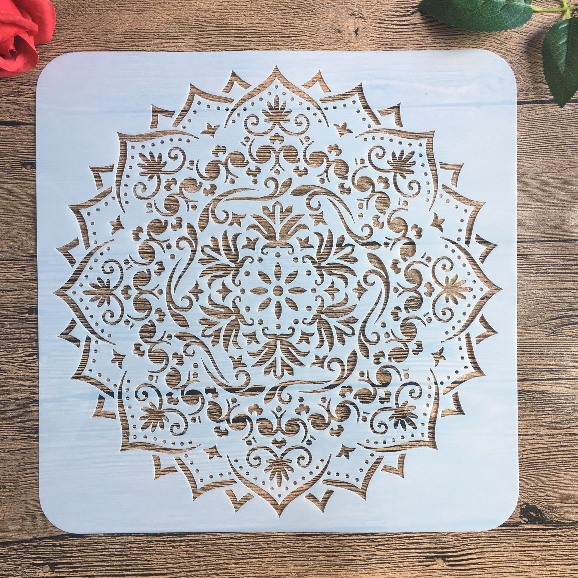 30 * 30 Cm Large Round Flower Mandala Diy Stencil Painting Scrapbook Coloring Engraving Album Decoration Template Stencil -h