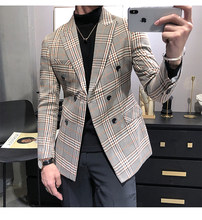 2020 Mannen Smoking Nieuwe Aankomst Plaid Casual Double Breasted Slim Fit Blazer Mens Suit (Alleen Jas)(China)