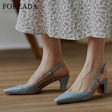 FOREADA Woman Pumps Real Leather Slingbacks Shoes Transparent High Heels Buckle Thick Heel Shoes Pointed Toe Ladies Footwear 39 foreada woman high heels natural genuine leather slingbacks shoes buckle stiletto heel footwear pointed toe lady pumps beige 40