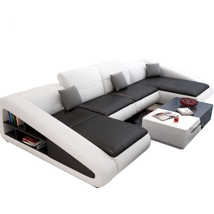 Simple Shaped Corner Corner First Layer Cowhide Leather Sofa Combination Living Room