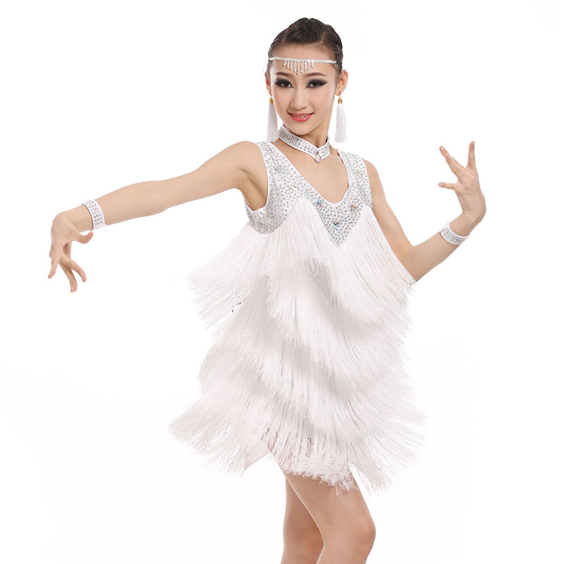 Girls Latin Dancing Dress White/Black Color Fringe Dress Competitive Clothing Children Latin Dress Kids Rhinestone Dress BL2777