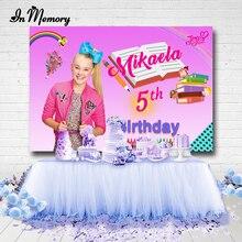 InMemory Hot Pink Book Rainbow Pen Girls Birthday Party Backdrop Jojo Siwa Celebration Photograph Backgrounds 7x5ft Vinyl