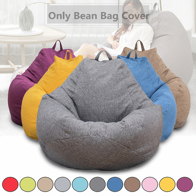 Lazy BeanBag Sofas Cover Chairs without Filler Linen Cloth Lounger Seat Bean Bag Puff asiento Couch Tatami Living Room Furniture 1