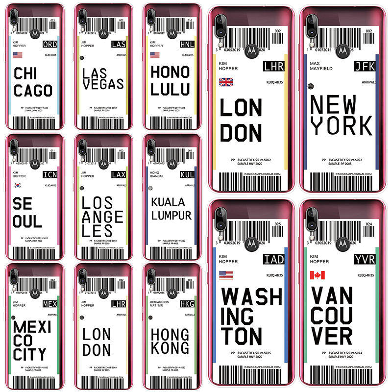 Air Ticket Hot City London New York Label World Clear Case For Motorola Moto G6 G5S G5 G4 Z Z3 Z4 E5 Plus Play Go One Code Cover