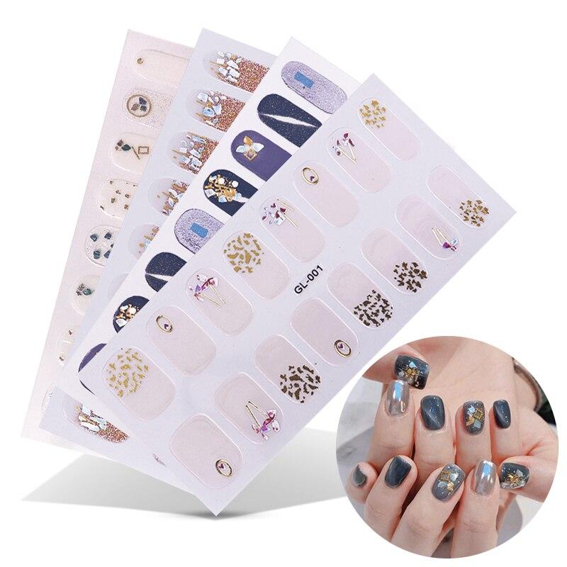 16 сообщения/1 лист, наклейки для ногтей УФ Гель-лак для ногтей Обертывания полоски цветной чехол полного покрытия ногтей наклейки-лак наклей...