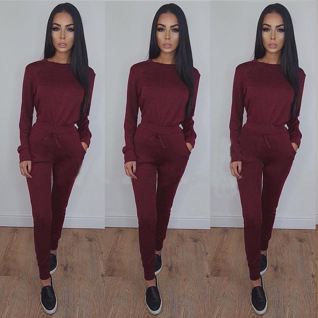Solid Sex Fashion 2020 New Design Fashion Hot Sale Suit Set Women Tracksuit Two-piece Style Outfit Sweatshirt Sport Wear
