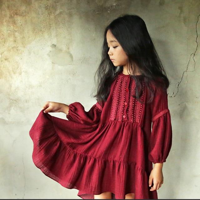 Vestido de primavera para niñas, novedad de 2019, vestido de princesa para niña pequeña, vestido de encaje bordado de lino de algodón con farol, #3655