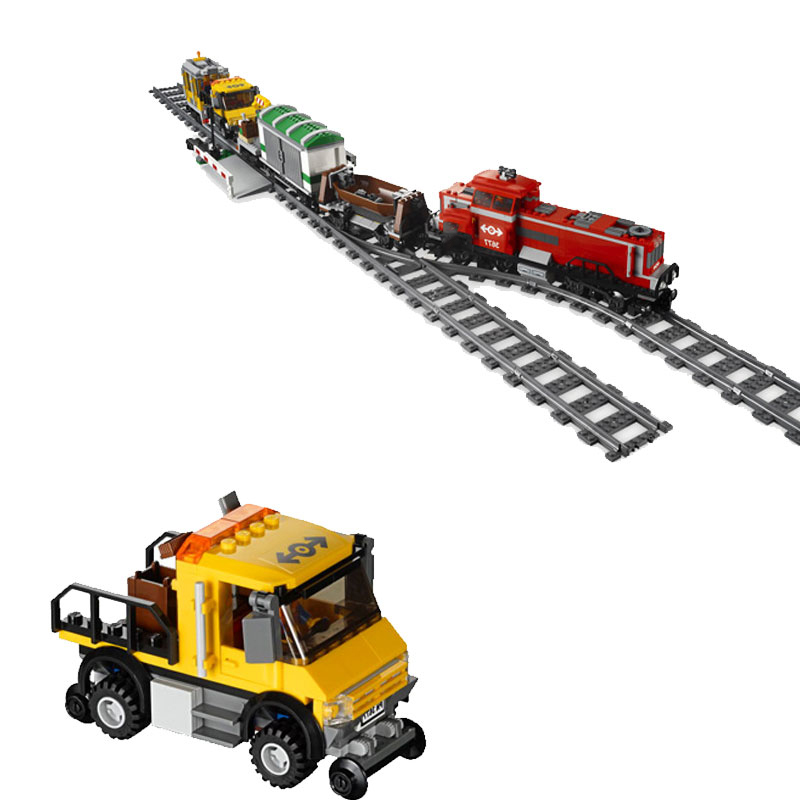 City Series Red Cargo Train 4 Figures Tracks Building Bricks Building Blocks Toys For Children Compatible