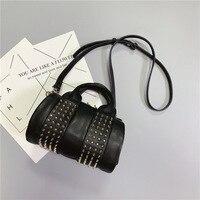 RAZALY brand Genuine Leather high quality Boston Rivet women messenger bags Rock street black handbags zipper chain satchels