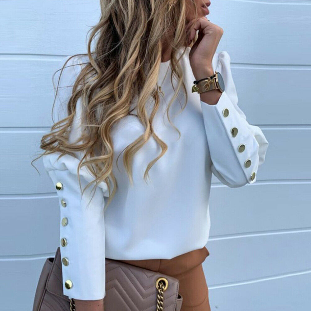 Womens Blouse Spring White Color Office Lady Style Button Patchwork Long Sleeve Women Tops And Blouses O-neck Punk Blouses Woman