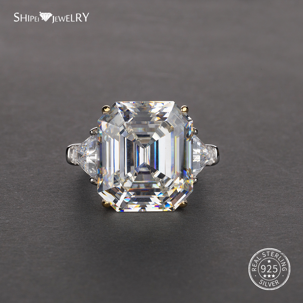 Shipei Asscher Cut Created Moissanite Ring White Gold For Women Men 100% 925 Sterling Silver Ring Engagement Wedding Coctail