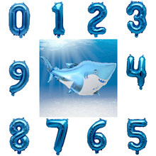 Number Balloon Great White Shark Marine Bio-Aluminum Balloons Birthday Party Decorations Kids Marine Theme Party Supplies(China)