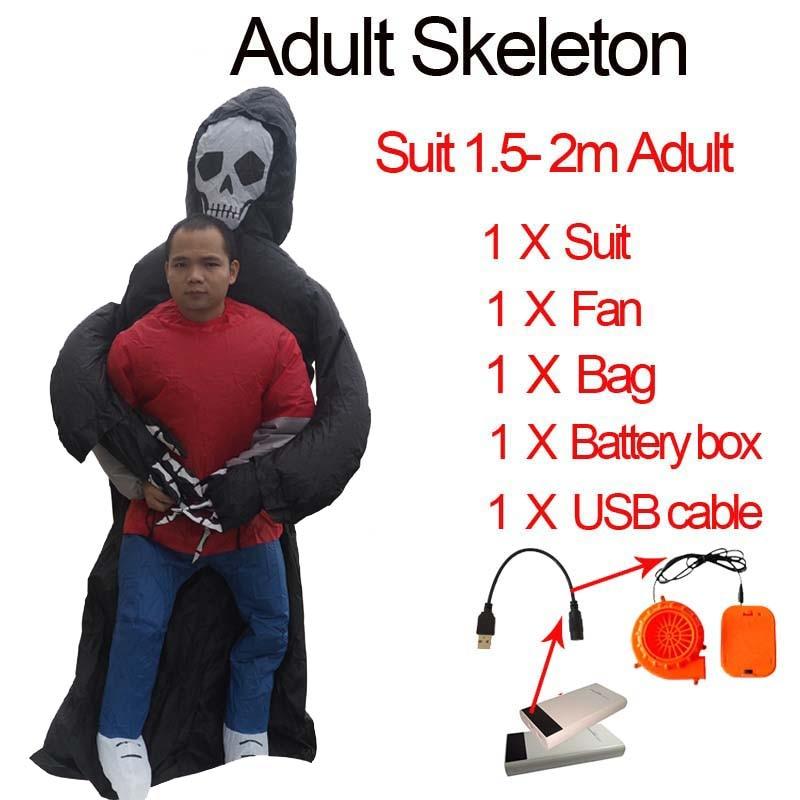 Ghost Inflatable Green Alien Costume Adult Skeleton Anime Fancy Dress Cosplay Grim Reaper Halloween Costumes For Women Man Kids