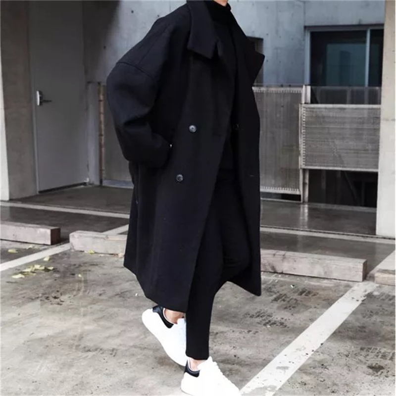 Fashion Mens Black Gray Wool Blends Overcoat Double Breasted Lapel Men Long Coats Mens Coat Winter England Style K0118
