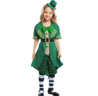 2019 Kids Girls Irish Lucky Fairy Leprechaun Costume Child Green St. Patrick's Day Outfit Fancy Clothes Hat Top Pants Suit ZL46