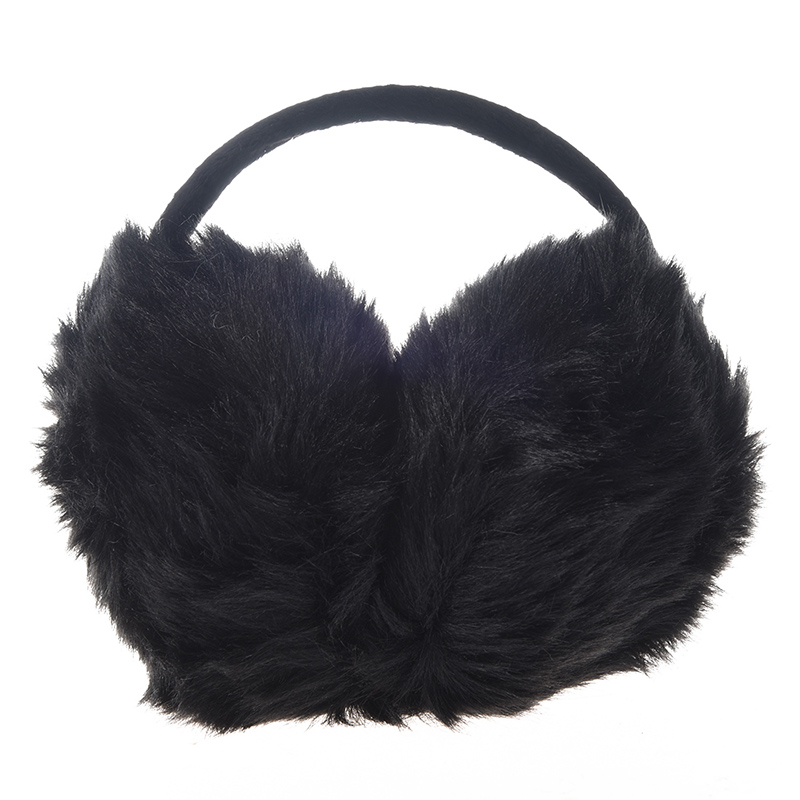 NEW-Lady Pure Plush Comfy Warmer Headband Back Ear Muffs Earmuffs Black