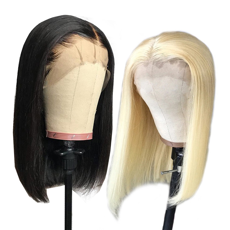 13x4 Lace Front Human Hair Wigs Blonde 613 Bob Lace Front Wig Brazilian Straight Bob Wig Pre Plucked With Baby Hair Non Remy