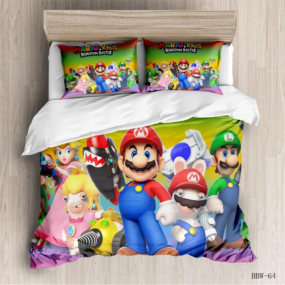 Bedding Set Cartoon Super Mario Duvet Cover For Kids Bed Cover 3d Quilt Mario Bross Bedclothes Children Home Textiles 3PCS