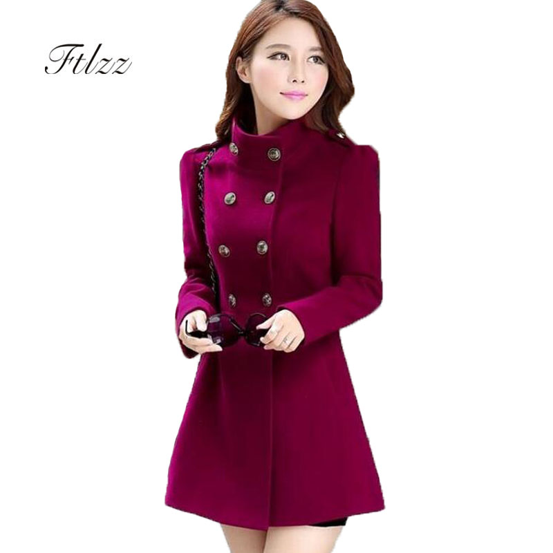 2019 New Meidum Long Coat Woman Slim Long Sleeve Double-breasted Army Green Faux Wool Coats Spring Autumn Korean Coats For Women