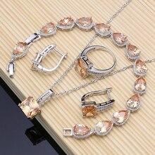 Kare 925 gümüş gelin takı şampanya zirkon takı setleri kadınlar için küpe/kolye/kolye/yüzük/bilezik