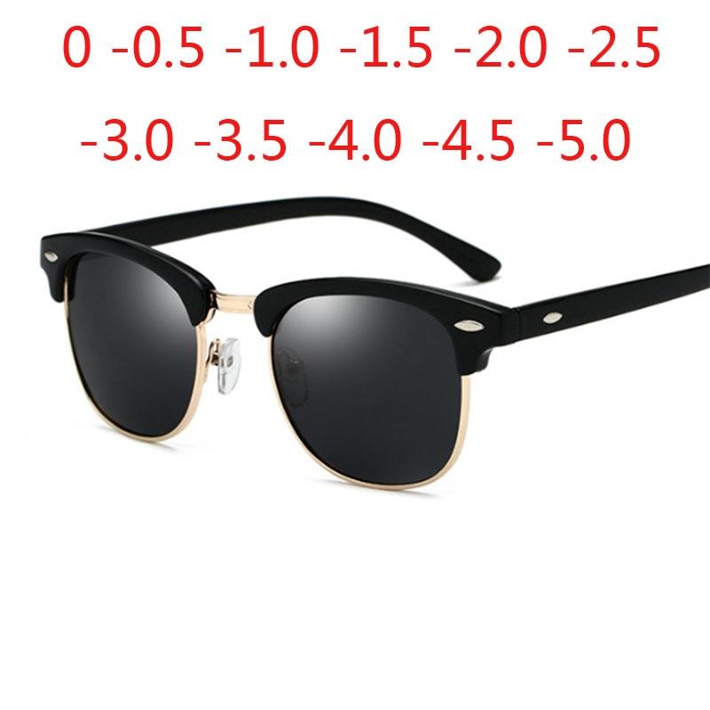 Óculos de sol semi-sem aro óculos de sol polarizados uv400 classic oculos de sol gafas prescrição 0 -0.5 -1.0 -2.0 para-5.0