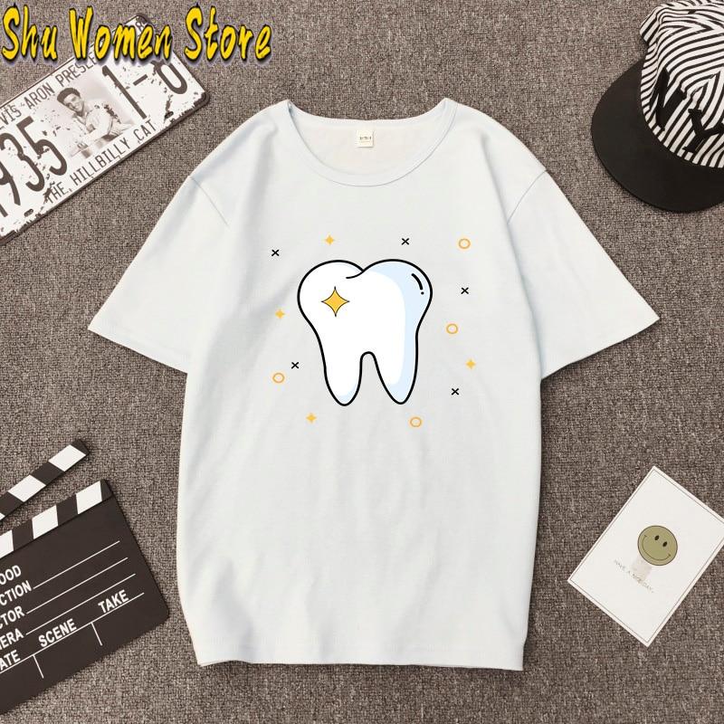 Hillbilly Aesthetic funny cartoon tooth dentist top fashion women's T-shirt Harajuku O-neck T-shirt pattern printing Unisex Funn