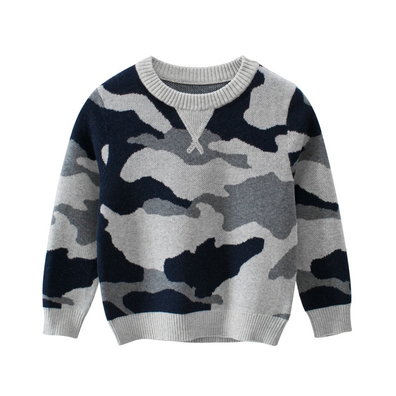 CALOFE Autumn Winter Boy Pullover Sweater Kids Striped Ribbed Knitting Sweater Children Soft Clothes Boys Tops Outfit Clothing