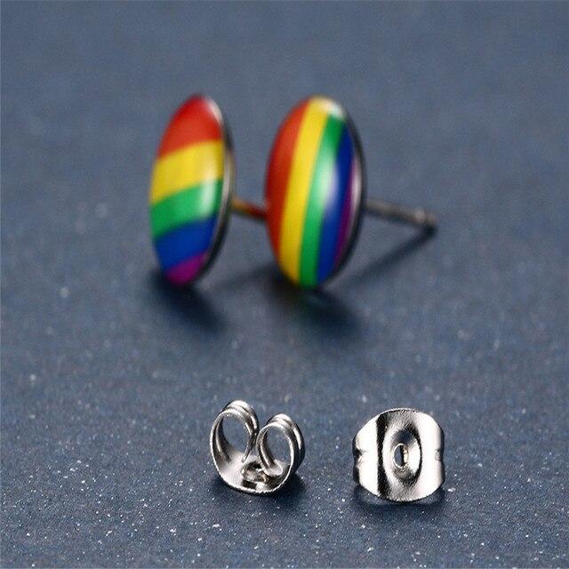 Boucles doreilles drapeau arc-en-ciel, breloque Gay, clous en acier inoxydable, pour hommes et femmes, bijoux, cadeau à la mode