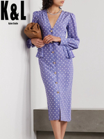 Purple polka dot V neck long sleeved waist ruffled diamond button dress women's autumn new temperament mid length dress