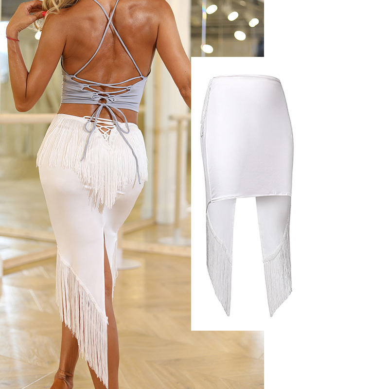 Women Latin Dance Skirt Fashion Tassel Bandage White Fringe Dress Ballroom Dancing  Skirts Samba Rumba Practice Wear DQS2665