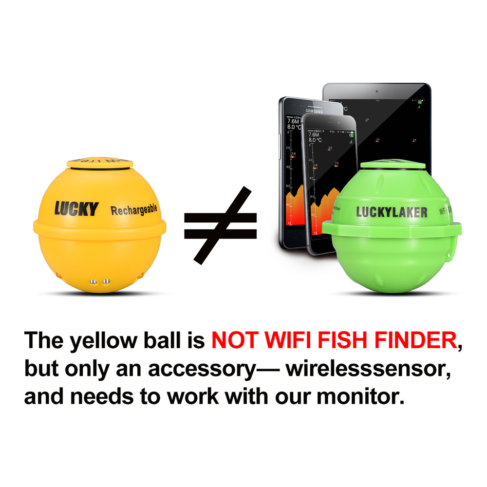 Wireless-Sonar Fishing-Finder Echo Sounder Water-Depth Lucky-Ff1108-1cwla Portable
