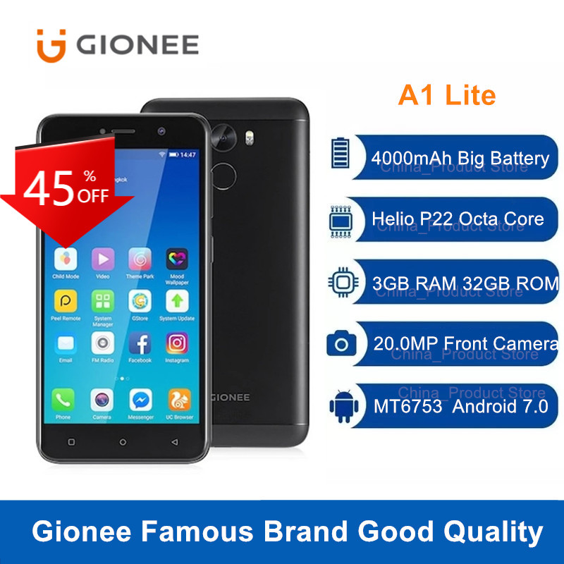 Gionee A1 Lite 4G LTE Smartphone Octa Core 3GB 32GB 20,0 MP Frontkamera Android 7,0 MT6753 4000mAh 5.3 Fingerprint Handy