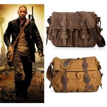 I AM LEGEND Will Smith military Canvas + Genuine leather Men Messenger Bag Canvas Shoulder Bag men Crossbody Bag Casual Bag 2020