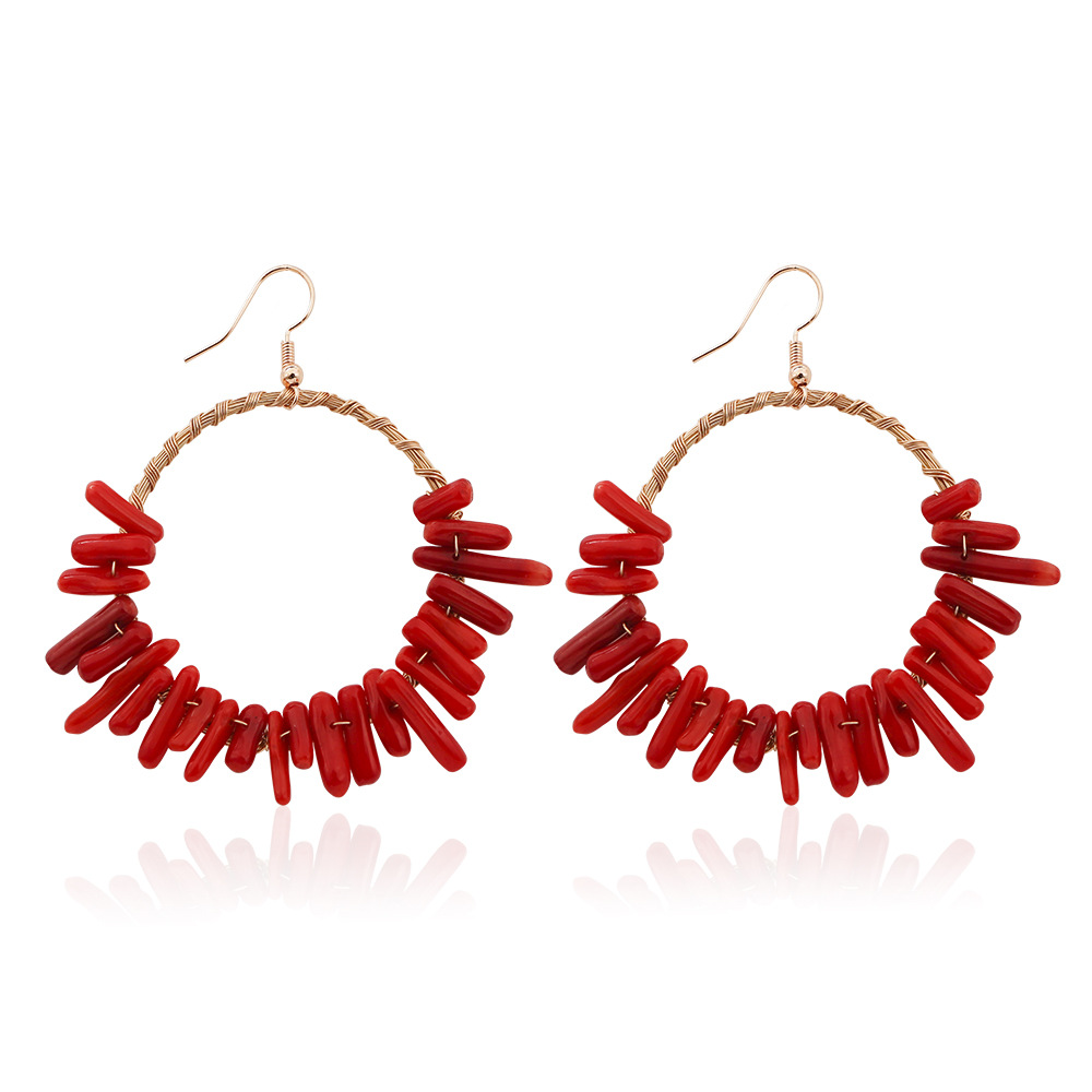 European And American Fashion Creative Exaggerated Geometric Round Ear Jewelry Irregular Earrings For Women Wholesale in Drop Earrings from Jewelry Accessories