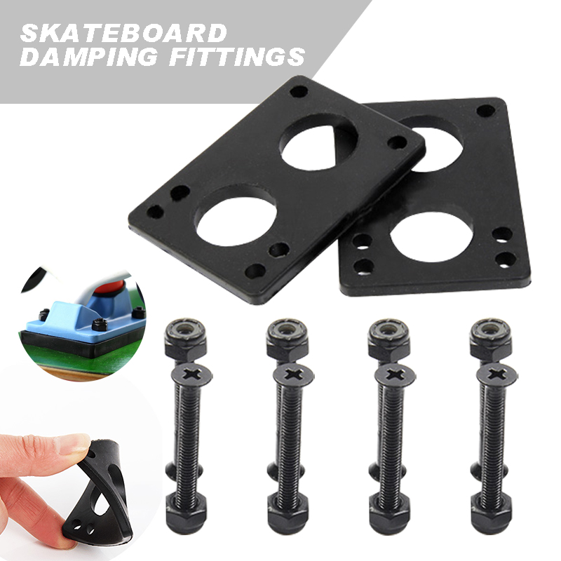 Skateboard Riser Pad  6mm PU Gaskets & 35mm Bridge Nails For Longboard Dance Board Soft Longboard Shockpads