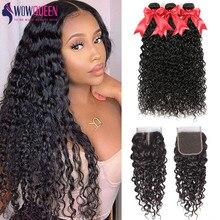 Water-Wave-Bundles Closure Brazilian Hair Wowqueen 100%Human-Hair with Remy